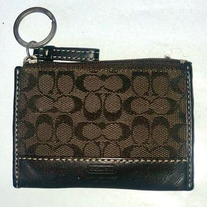Coach Mini Skinny Id Case Brown Signature Canvas